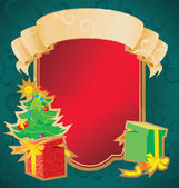 Christmas frame with banner and holiday decorations — Stock Photo