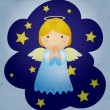 Vintage christmas angel in the night sky — Stock Photo