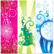 Set of banners christmas tree with snowflakes — Stock Vector