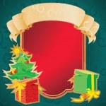 jul ram med banderoll och holiday dekorationer — Stockvektor  #7763225
