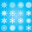 图库矢量图片: Vector snowflakes set on blue background