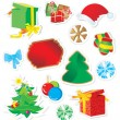 Vector set of color christmas stickers — Stock Vector