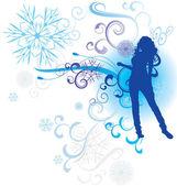 Winter abstract woman silhouette vector illustration — Vector de stock