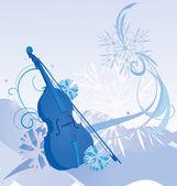 Ретро скрипка зима иллюстрации — Cтоковый вектор