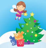 Noel ağacı ve peri vektör karikatür — Stok Vektör