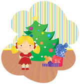 Vector cartoon girl and christmas tree with gifts — Stock Vector
