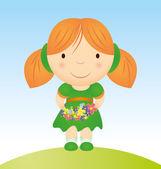 Vector girl with flowers cartoon — Stock Vector