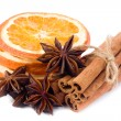 Orange, anise and cinnamon — Stock Photo