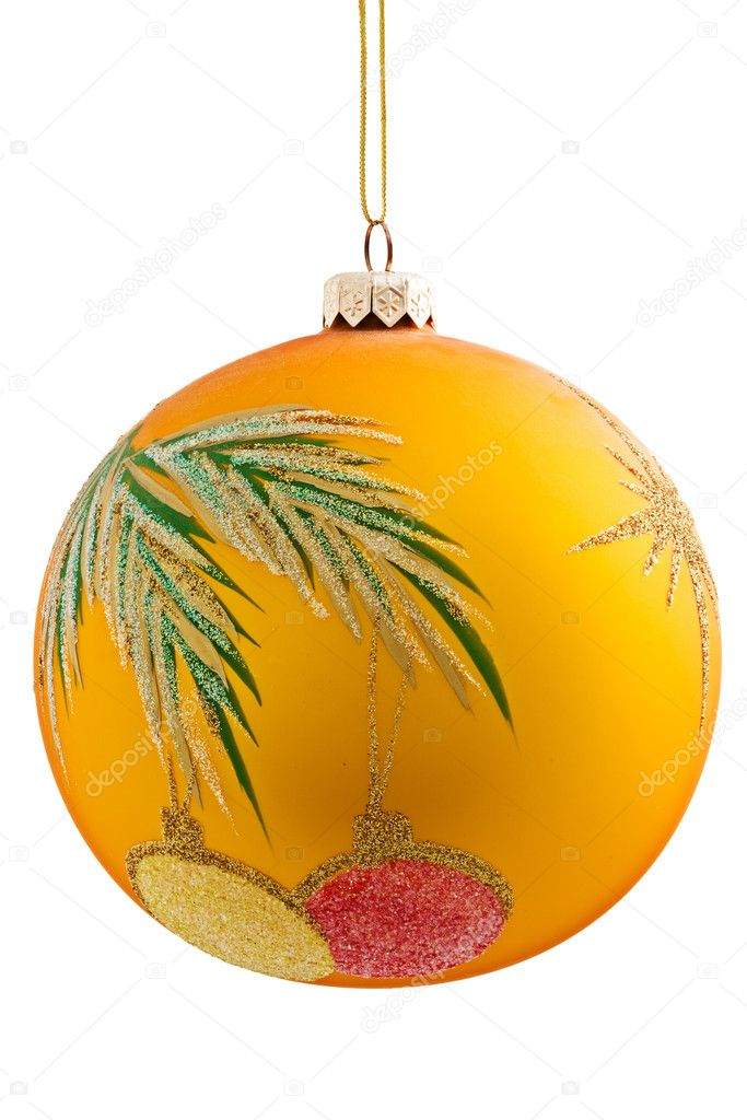 Yellow Christmas ball, hanging from a wire, on a white background.  — Stock Photo #6850812