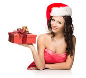 Portrait of beautiful sexy girl wearing santa claus clothes — Stock Photo