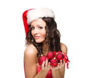Beautiful santa girl isolated on white — Stock Photo