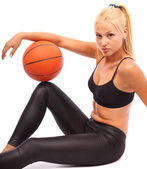 Young girl with basketball — Stock Photo
