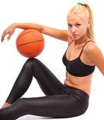 Young girl with basketball — Stock Photo