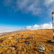 Pole marking route in mountains — Foto Stock