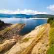 Dam lake Oasa in Romanian mountains — Stock Photo