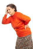 Senior woman with backache — Stock Photo