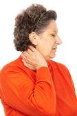 Sênior mulher com dor de garganta — Fotografia Stock