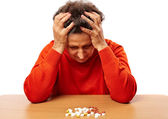 Senior woman with too many pills — Stock Photo