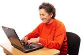 コンピューターでのシニア女性 — ストック写真