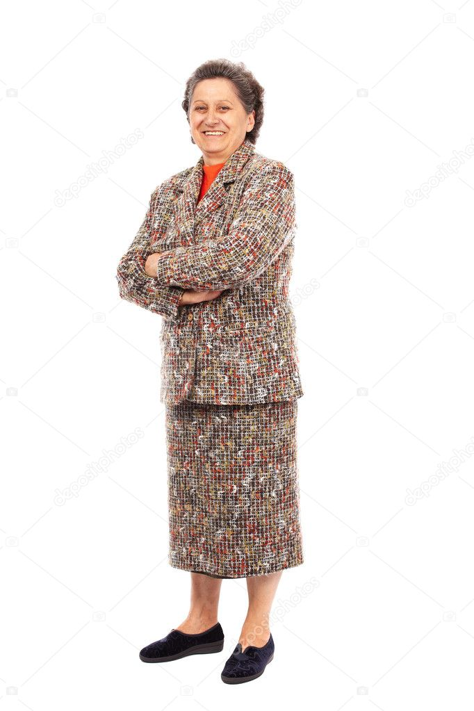 Full length portrait of a happy senior woman isolated on white background — Stock Photo #7237736