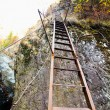 Stock Photo: Rusty and unstable ladder on mountain