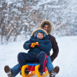 Mother and son on a sledge — Stock Photo #7596044