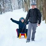 Baba ve oğul ile kızak — Stok fotoğraf