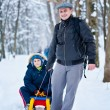 Father and son with a sledge — Stok fotoğraf