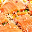 Salmon fillets with garnish — Stock Photo #7731098