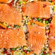 Salmon fillets with garnish — Stock fotografie
