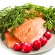 Red salmon fillet with herbs — Stock Photo