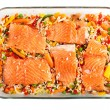 Salmon fillets with garnish — Stock Photo #7731130
