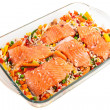 Salmon fillets with garnish — Stock Photo