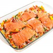 Salmon fillets with garnish — Stock Photo #7731135