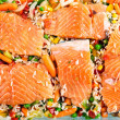 Salmon fillets with garnish — Stockfoto