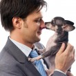 Businessman with his pet — Stock Photo
