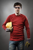 Blue collar worker with hardhat — Stock Photo