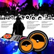Vector illustration music event with DJ — Stock Vector