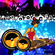 Vector illustration music event with DJ — Stock Vector #7228306