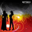 Beautiful women with dancing in background - Stock Vector
