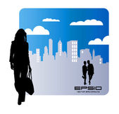 Illustration of woman with city in background — Stock Vector