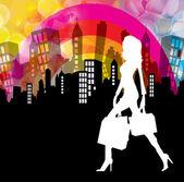购物女孩 — 图库矢量图片