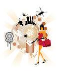 Mulher com sacos de compras — Vetorial Stock