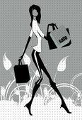 Nákupní žena — Stock vektor