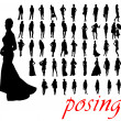 High quality posing silhouettes. Vector illustration — Stock Vector #7651319