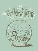 Doodle Snow Globe — Stock Vector