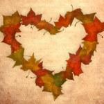 Autumn leaves vintage heart — Stock Photo