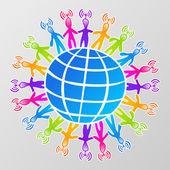 Global social media network — Stock Vector
