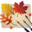 Brushes with autumn colors — Vector de stock