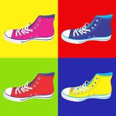 Teenager sneakers background — Stock Vector